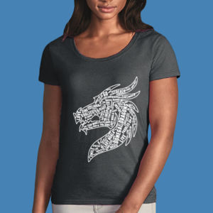 Donegal Dragons Word Cloud - Softstyle® women's deep scoop t-shirt Thumbnail